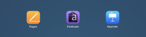 iOS App Icons for Pages, Fontcase, and Keynote.